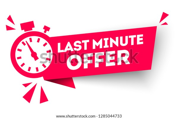 vector illustration red last minute offer button sign, flat modern label, alarm clock countdown logo