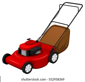 Vector illustration of a red lawn mower.