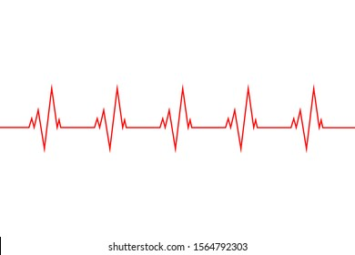 Vector illustration of a red line heartbeat