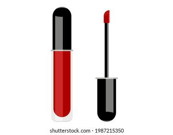 Vector illustration of red lip gloss and a brush next to it for application. Isolated on white background