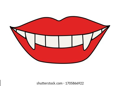 Vector illustration.  Red lips isolated on white. Smile of a vampire with fangs. Hand drawn clipart. Picture in a trendy minimalism style.
