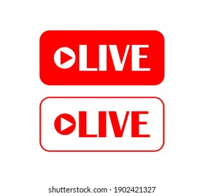 Vector illustration of red LIVE button icon on white back.