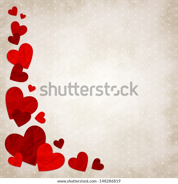 Vector Illustration Red Love Hearts On Stock Vector Royalty Free 148286819