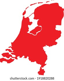 vector illustration of Red map of Netherlands