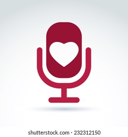 Vector illustration of red microphone with love symbol, broadcast icon. Love song sign.