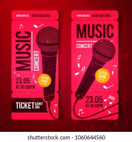 vector illustration red music concert ticket design template with microphone and cool grunge effects in the background