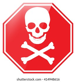 Vector illustration red octagon danger sign with skull symbol. Warning sign
