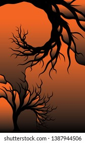 A vector illustration of red and orange sunset colored gradients silhouetted by abstract tree limbs, in a fractal like spiral pattern. 11x17 aspect ratio