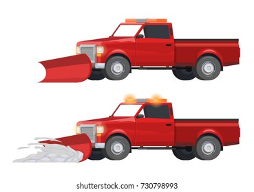 Vector Illustration red pickup truck, snow cleaning, road service, blizzard, snow, road works, seasonal work.