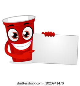 Vector Illustration of Red Plastic Beer Pong Cup Holding a White Blank Board