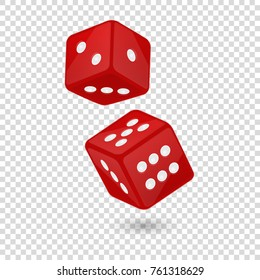 Vector illustration of red realistic game dice icon in flight closeup isolated on transparency grid background. Casino gambling design template for app, web, infographics, advertising, mock up etc