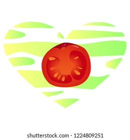 Vector illustration, red realistic slice of the tomato without outline on a light-green and yellow striped background