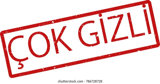 """Vector illustration of red rectangular rubber grunge stamp with the inscription """"top secret"""" in turkish  language isolated on white background. Translation of the text """"top secret"""""""