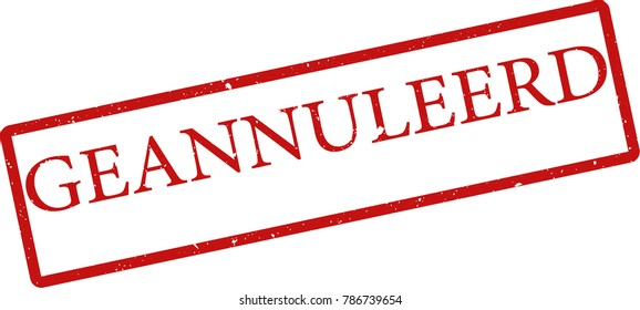 """Vector illustration of red rectangular rubber grunge stamp with the inscription """"canceled"""" in nederlands  language isolated on white background. Translation of the text """"canceled"""""""