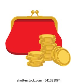 Vector illustration red retro purse and stack of golden coins. Saving money concept. Purse flat icon