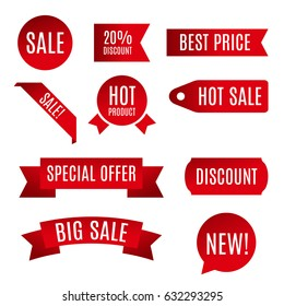 Vector illustration of red ribbon, sale banner, paper scroll