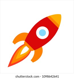 Vector illustration: red rocket ship flat icon fly from left to right isolated on white background. Project start up and development process. Innovation product and management.