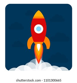 Vector illustration: red rocket ship flat icon fly upwards with flame and fume isolated on dark blue background. Project start up and development process. Innovation product and management.