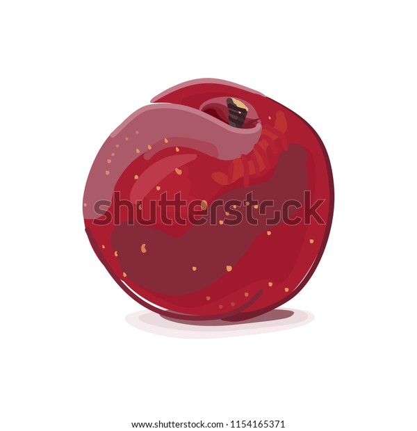Vector illustration of a red round ripe peach isolated with shadow