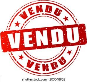 Illustration vectorielle icône timbre rouge vendu