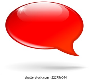 Vector illustration of red speech bubble on white background