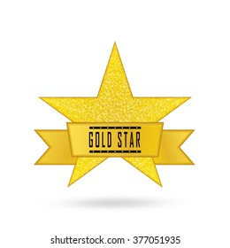 Vector illustration of red star award with shiny ribbon with space for your text