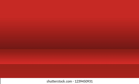 Vector illustration, red studio table room for display of content or products, mock up 3D stage.