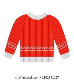 Vector illustration red sweater with white pattern isolated on the white background. Cotton sweaters for men. Wool sweaters for women