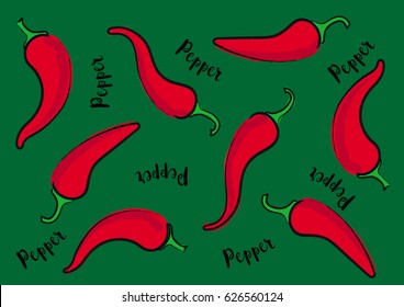 Vector illustration Red Sweet Chili Pepper on a green background and calligraphic inscription «Pepper»