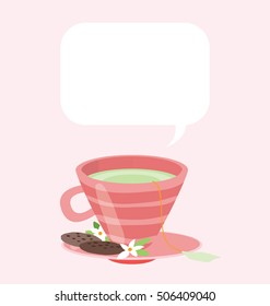 Vector illustration of a red teacup. Green tea in the pastel mug, served with chocolate cookies. Big copy space on the top of the image.