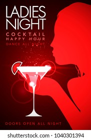 Vector illustration red template party event happy hour ladies night flyer design with cocktail glass
