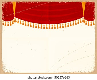 Vector illustration of a red theater curtain on a retro background. Vintage card with a grunge texture. Old paper background. Design element