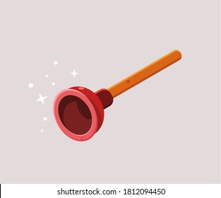 vector illustration of red toilet plunger