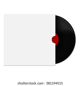 Vector illustration of red vinyl record with white blank cover