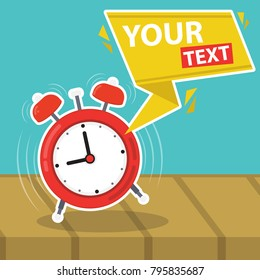 Vector illustration red wakeup clock card, place for your text. Flat Design