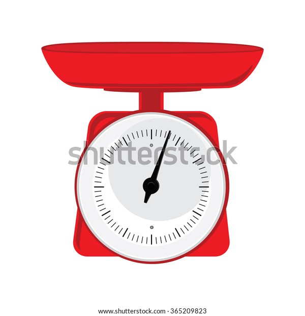 Vector Illustration Red Weight Scale On Stock Vector