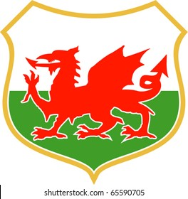 vector illustration of a red welsh wales dragon with shield in background