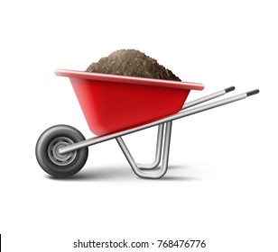 Vector illustration of a red wheelbarrow for gardening full of soil isolated on white background
