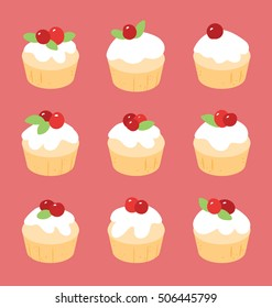 Vector illustration of the red and white Christmas muffins. Set of cupcakes arranged on the pastel red background. Muffins are decorated with red berries and green leafs on the top.