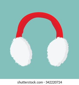 777ff7600f6043 Vector illustration red and white ear muffs icon on blue background