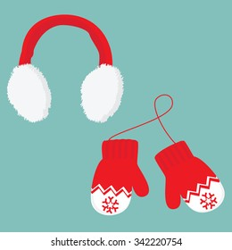 4550278f3a0c4f Vector illustration red and white ear muffs and pair of knitted winter  mittens on blue background
