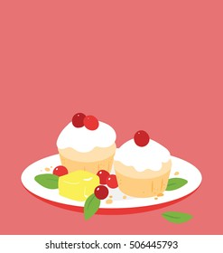 Vector illustration of red and white muffins arranged on the red ceramic plate.  Cupcakes are decorated with red berries, white topping and green leafs. Big copy space on top of the image.