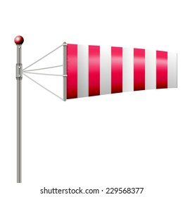 Vector illustration of red windsock. Single red striped windsock by wind. Isolated vector illustration on white.