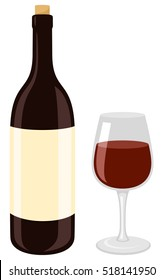 Vector illustration of a red wine bottle and glass.