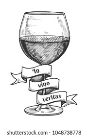 Vector illustration of red wine glass with a ribbon around it with the inscription of Latin saying In vino veritas which means In wine is the truth. Vintage hand drawn engraving style.