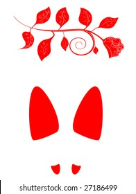vector illustration of the red woman footprint with rose