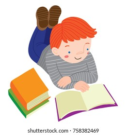 Vector illustration of red-haired boy lying on the floor and reading books with legs up in the air