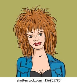 Vector illustration of redhead woman. Easy-edit layered vector EPS10 file scalable to any size without quality loss. High resolution raster JPG file is included.