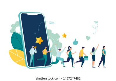 Vector illustration, referral marketing concept, friends loyalty program, promotion method