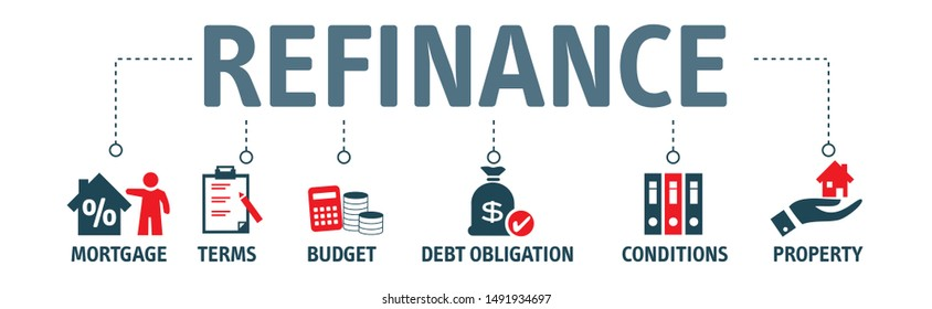 Vector illustration of refinance. Refinancing is the replacement of an existing debt obligation with another debt obligation under different terms